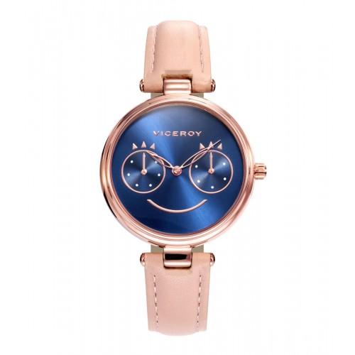 Reloj Viceroy Dorado Azul Correa Rosa