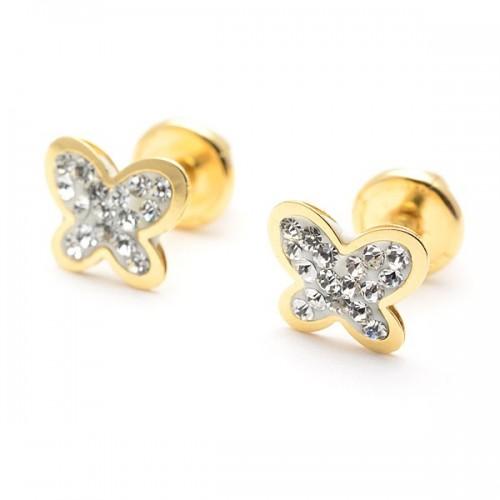 Pendientes Oro Bebé Mariposa