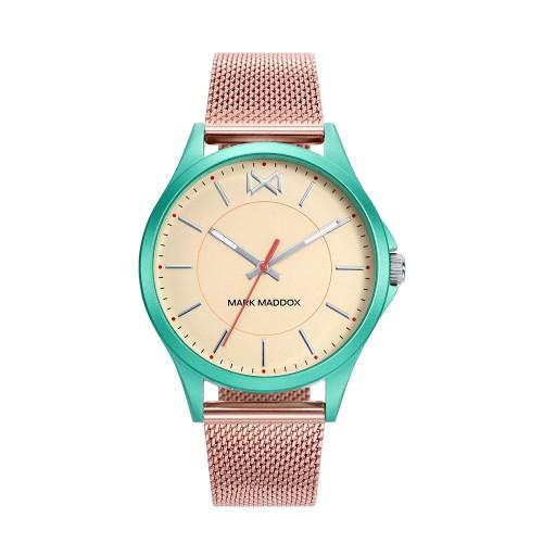 Reloj para chica Mark Maddox verde y dorado con brazalete de malla