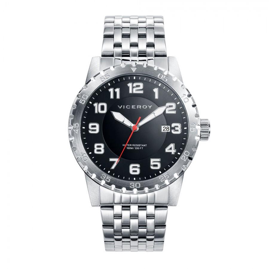 Reloj Viceroy negro sumergible con brazalete de acero