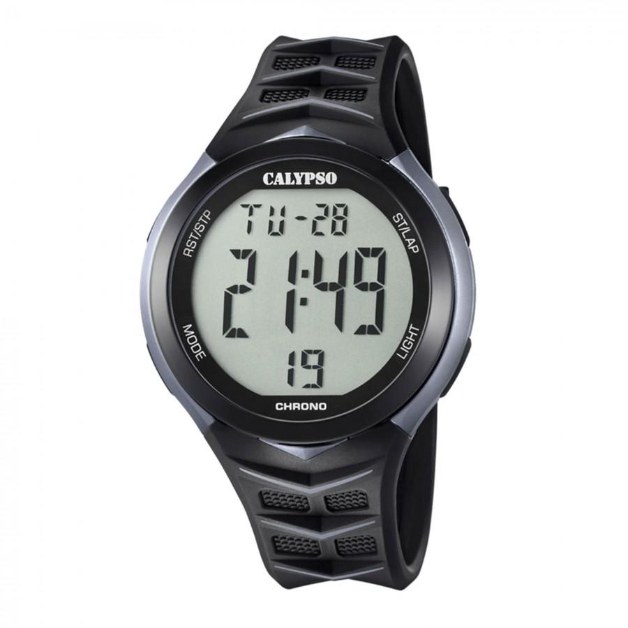 Reloj Calypso Chico Azul Digital Correa Goma Negra