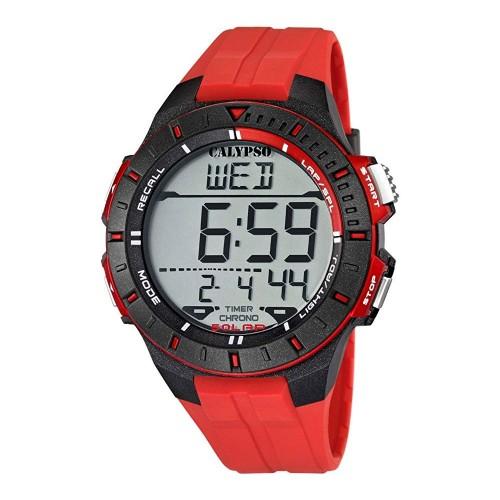 Reloj Calypso Chico Digital Correa Goma Roja