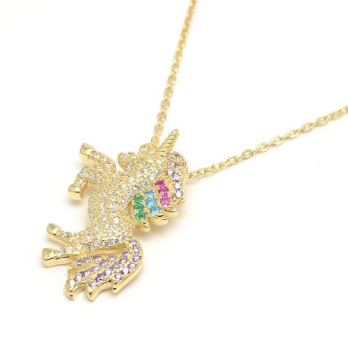 Colgante Plata Dorado Unicornio Cristales