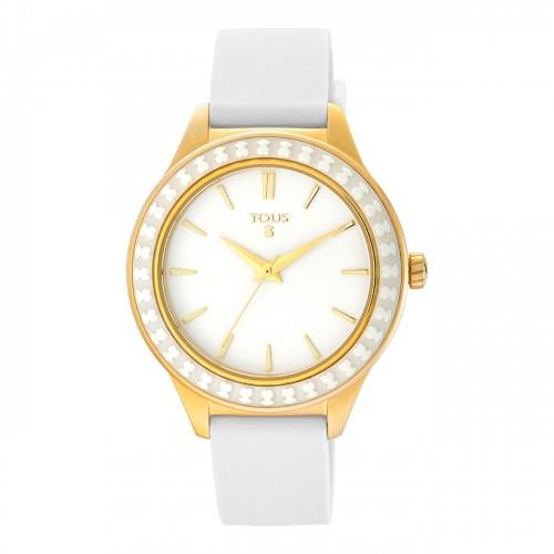 Reloj Tous Straight Ceramic Dorado Correa Blanca