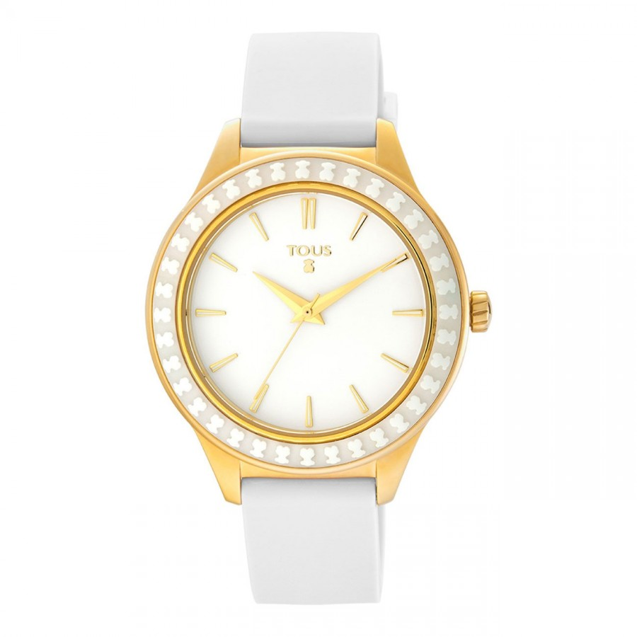 Reloj Tous Chica Straight Ceramic Dorado Correa Blanca