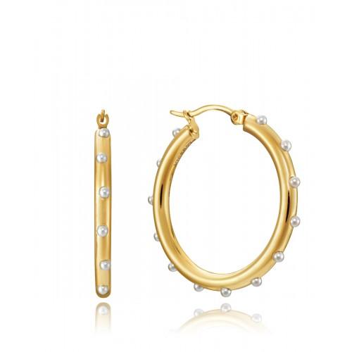 Pendientes Viceroy Aros Dorados Mini Perlas