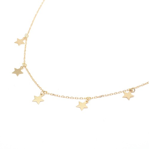 Gargantilla de oro con colgantes de estrellas