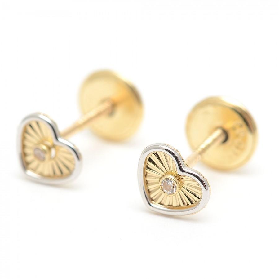 Pendientes Oro Bebé Corazón Bicolor Circonita