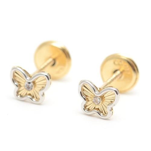 Pendientes Oro Bebé Mariposa Bicolor Circonita