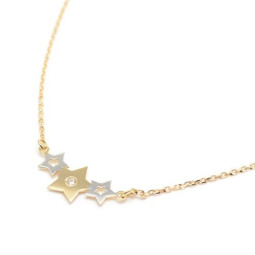 Gargantilla Oro Estrellas Bicolor Circonita