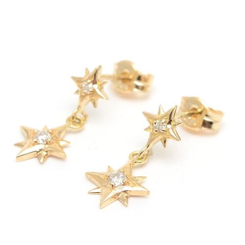 Pendientes Oro Chica LeCarré Diamantes Estrellas
