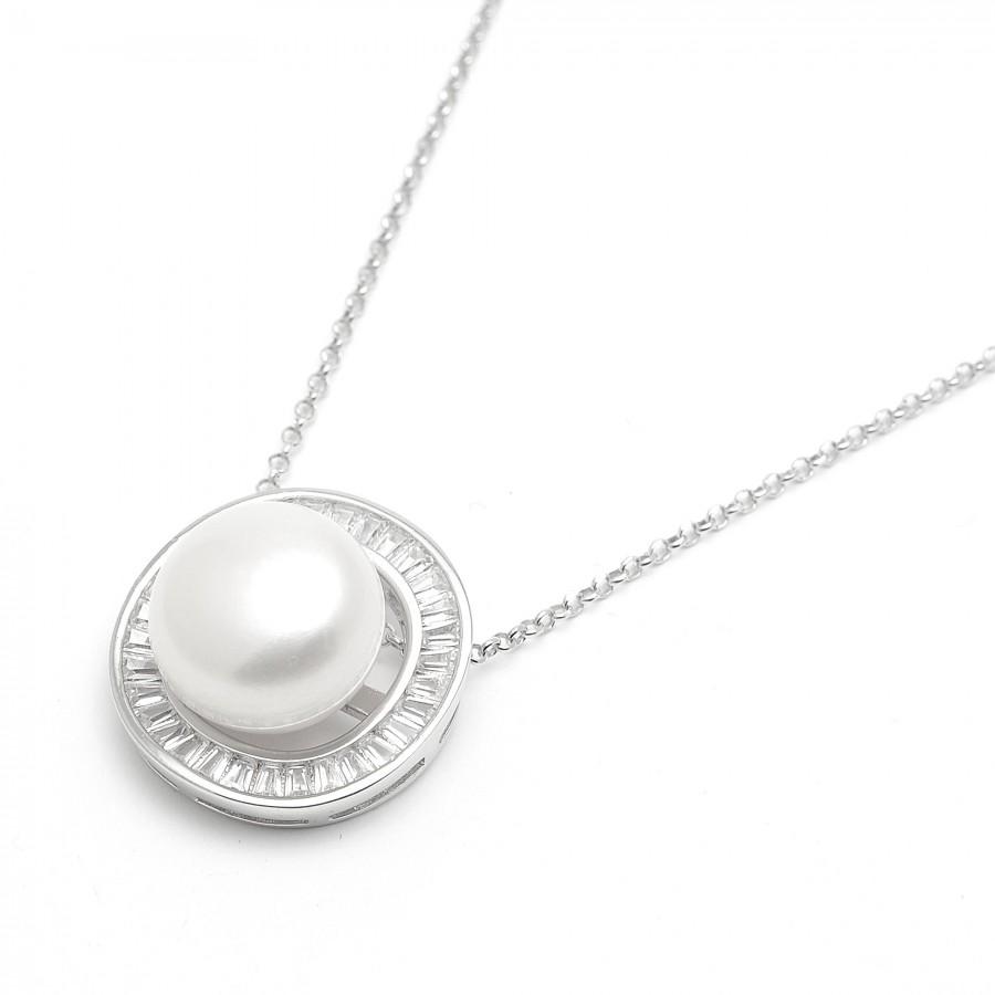 Colgante Plata Perla Blanca y Circonitas