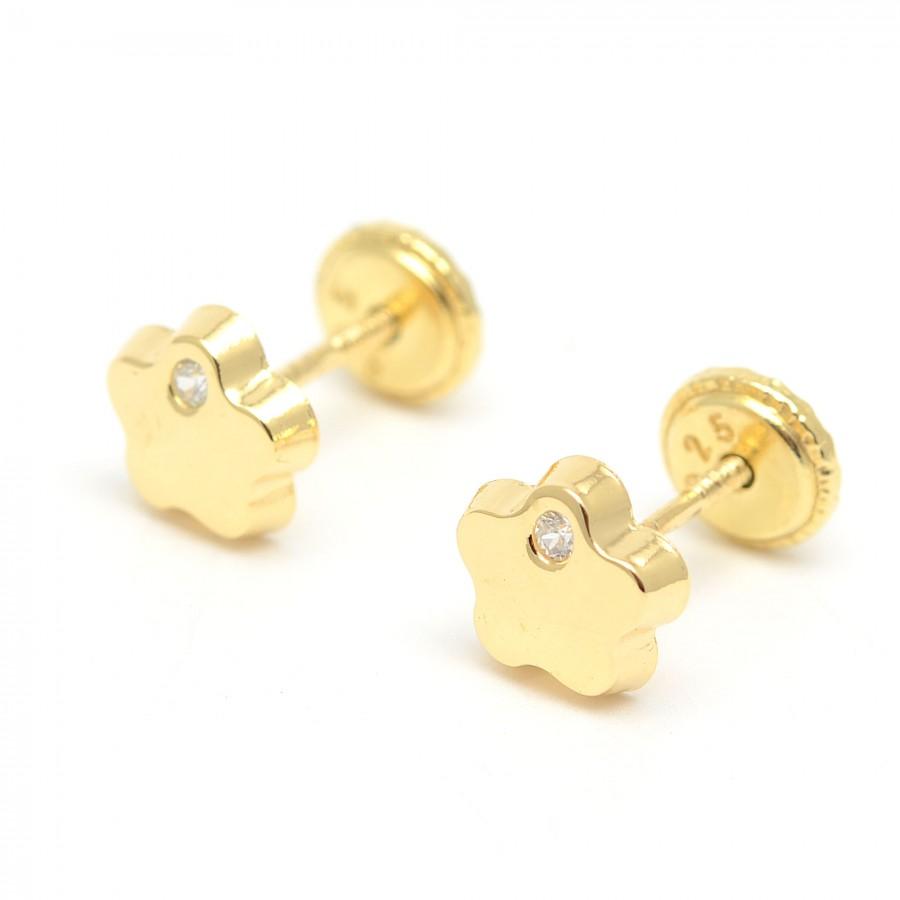 Pendientes dorados flor pequeños