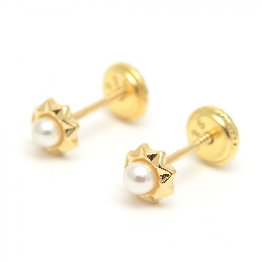 Pendientes dorados estrella perla
