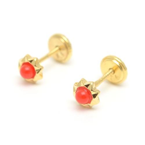 Pendientes Dorados Rosca Estrella Coral Rojo