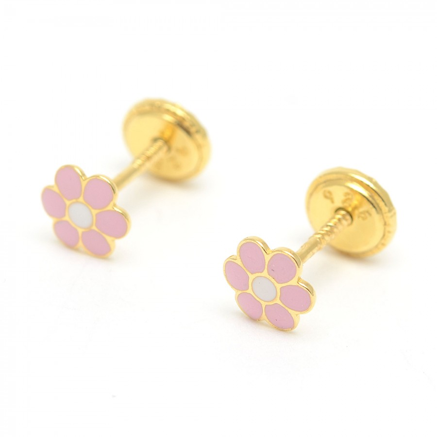 Pendientes dorados flor rosa