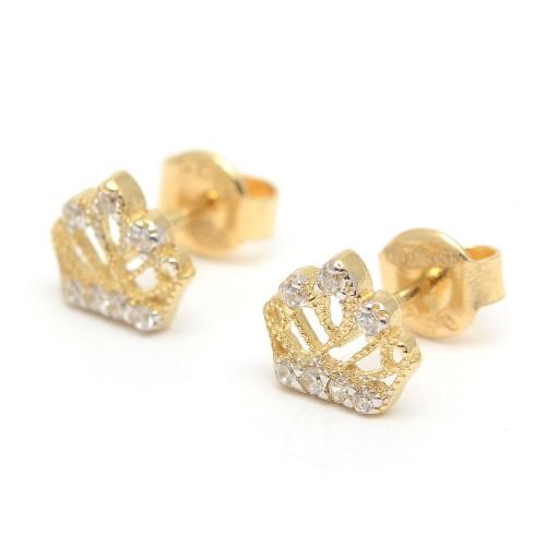 Pendientes de oro de corona con circonitas