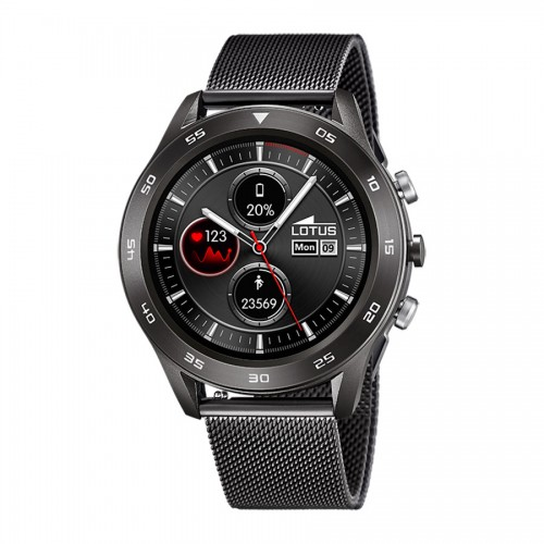 Smartwatch Lotus Brazalete Malla Acero Negro