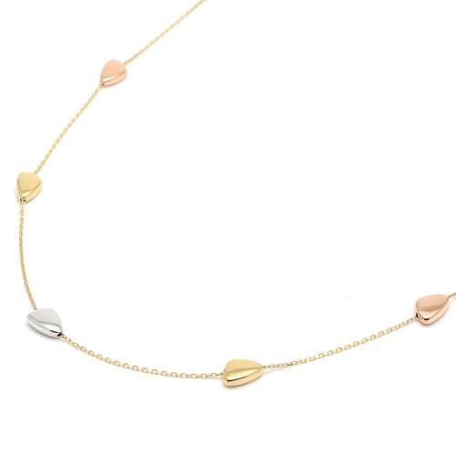 Gargantilla Oro con adornos de Oro Blanco y Rosa