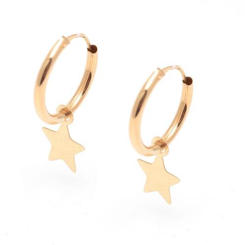 Pendientes de oro de aro con colgante de estrella