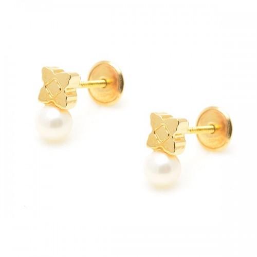 Pendientes Oro Perla Trébol