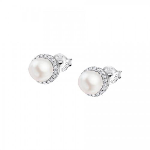 Pendientes de Plata Lotus pequeños con perla y circonitas