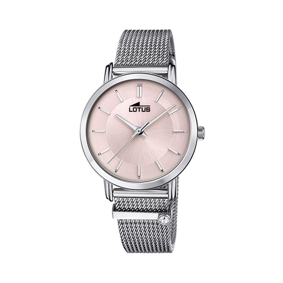 Reloj chica Lotus rosa brazalete de malla