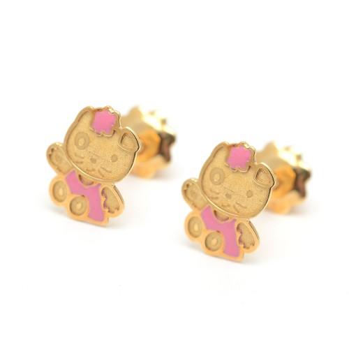 Pendientes Oro Bebé Hello Kitty Rosa