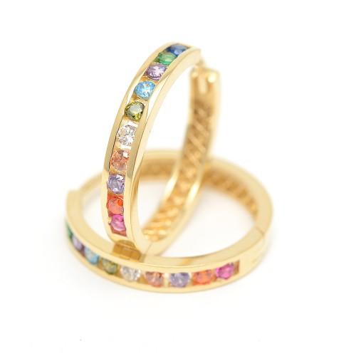 Pendientes de oro con forma de criolla con cristales de colores
