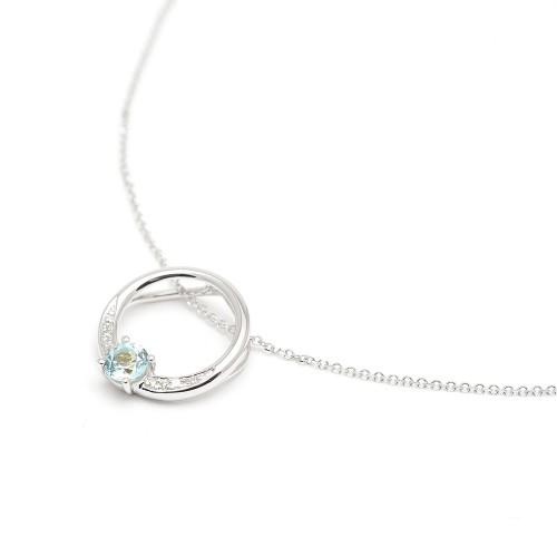 Gargantilla Oro Blanco Topacio Azul y Diamantes