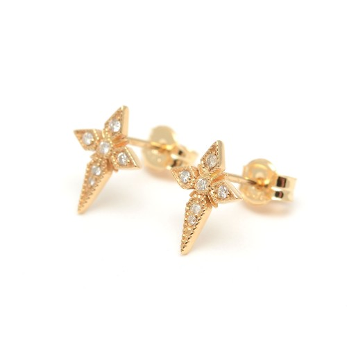 Pendientes Oro Chica LeCarré Cruces Diamantes