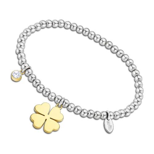 Pulsera Acero Lotus Bolitas Trébol Dorado
