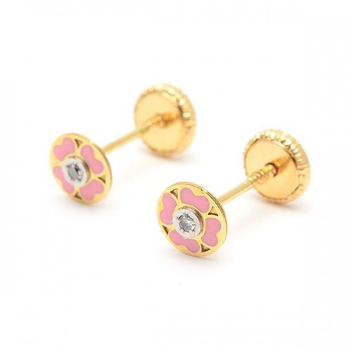 Pendientes Oro Trébol Rosa