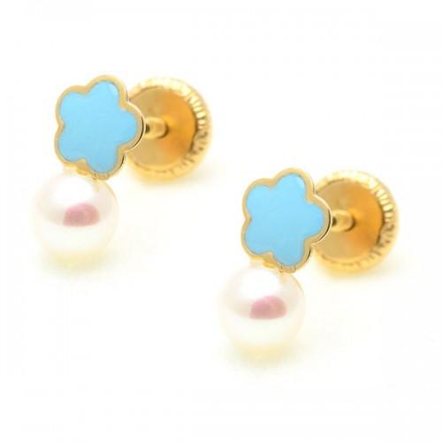 Pendientes Oro Flor Azul Perla