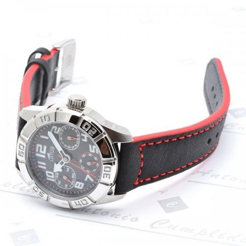 Reloj Lotus Deportivo Rojo Negro Correa