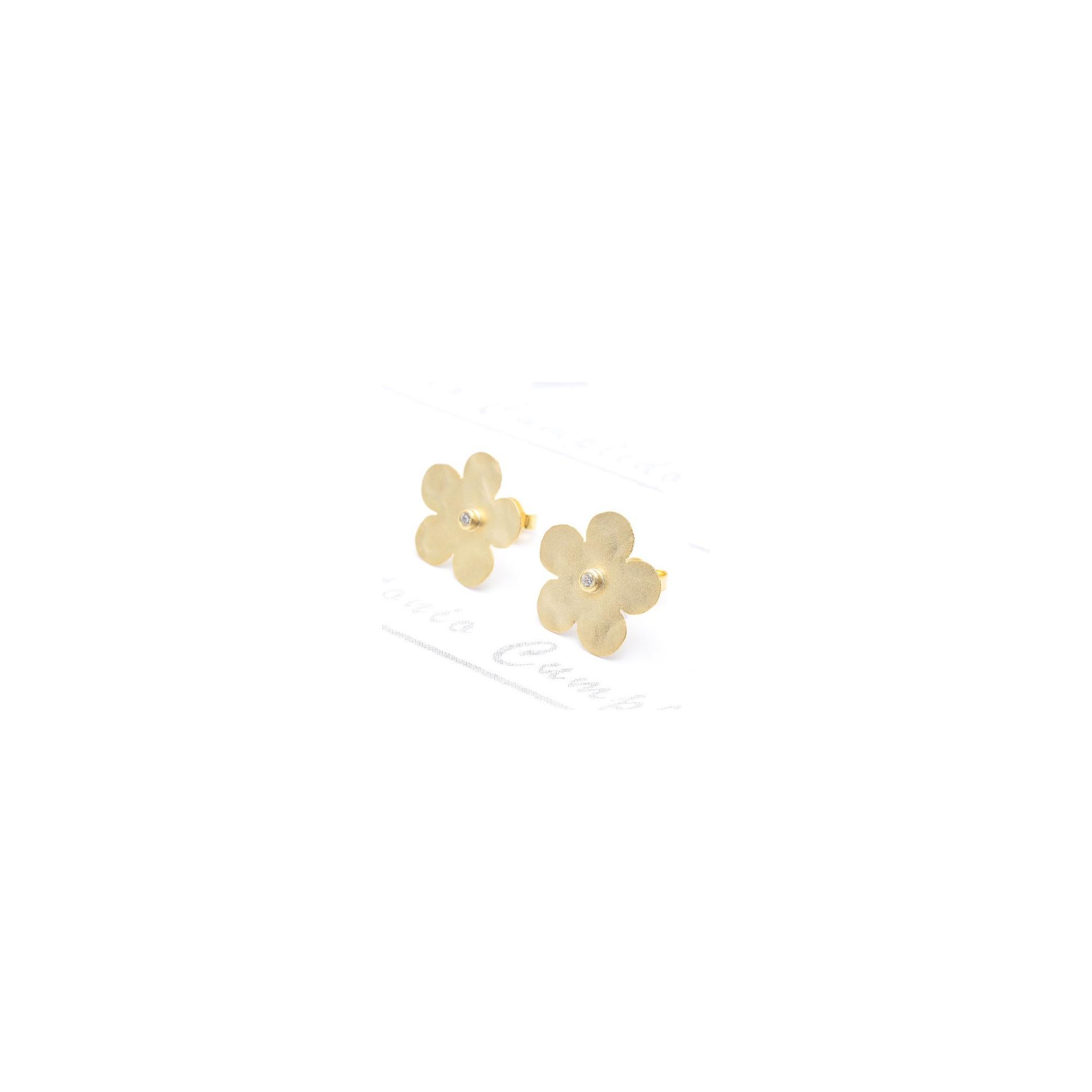 Pendientes Plata Flor Dorados Salvatore 68a0052