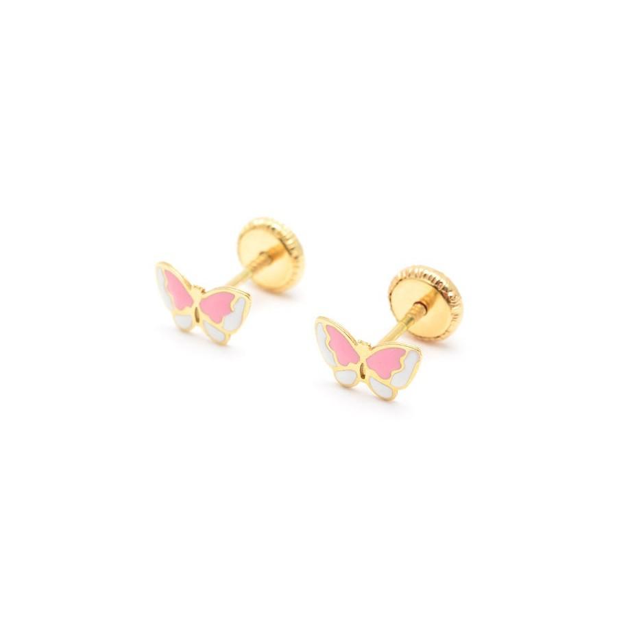 pendientes oro bebe mariposa
