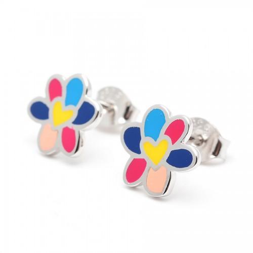 Pendientes Plata AGATHA Flor Colores