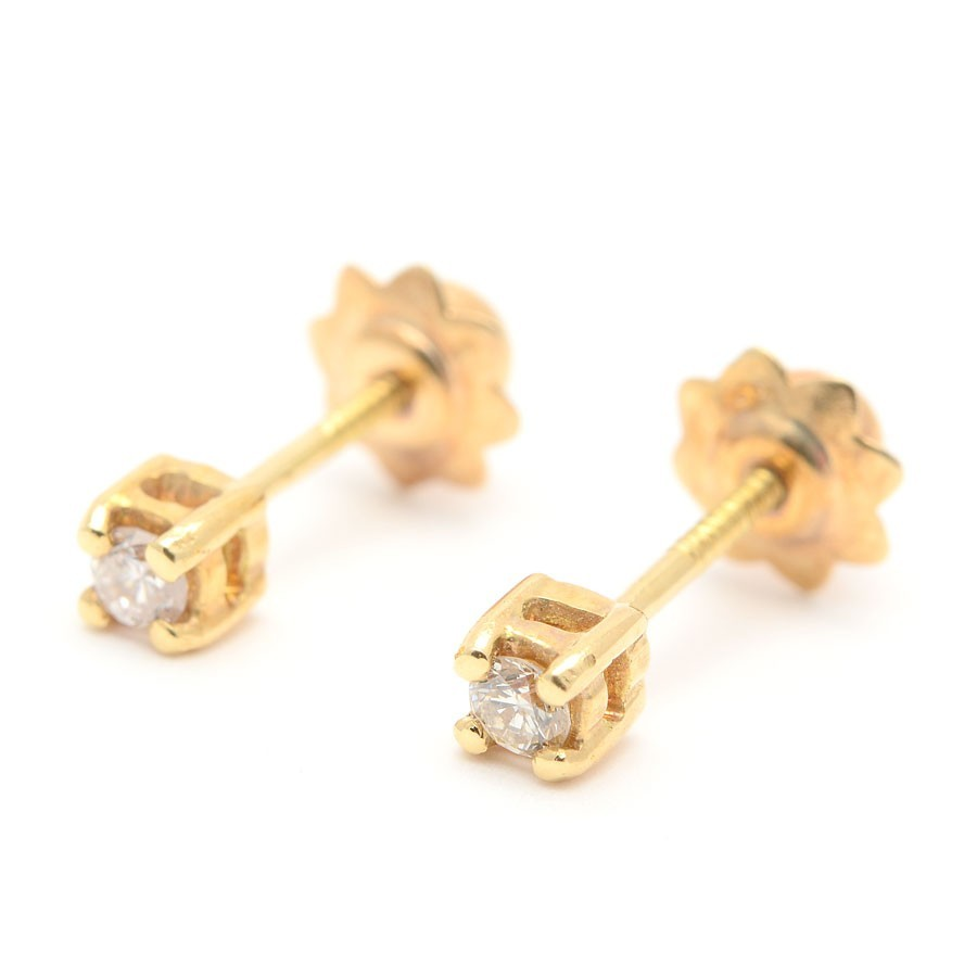 abb0256bdcac Pendientes Oro Bebé Niña Infantil Chico Cuadrado Diamante