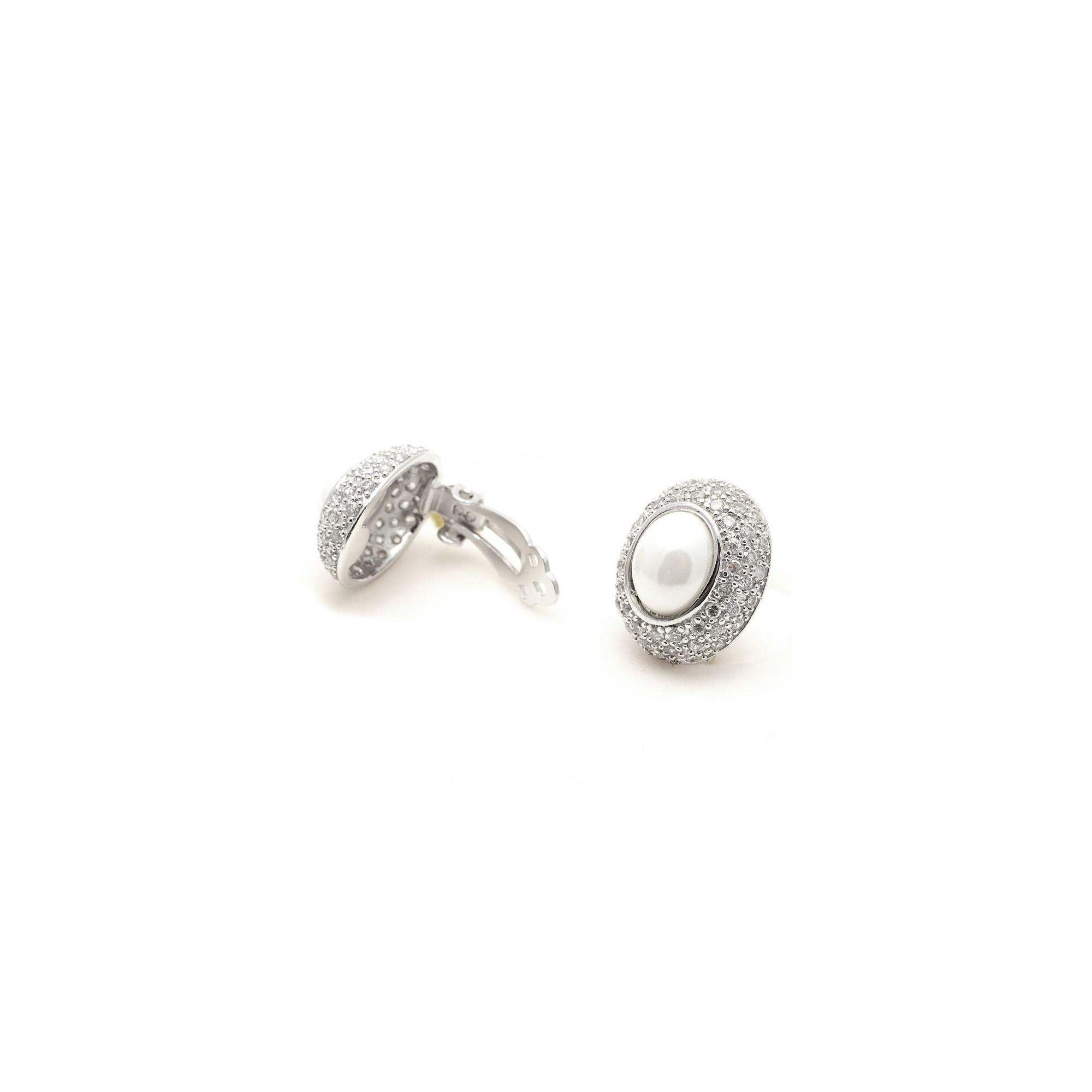 a6b24049f67e Pendientes Clip Plata Perla Cristales