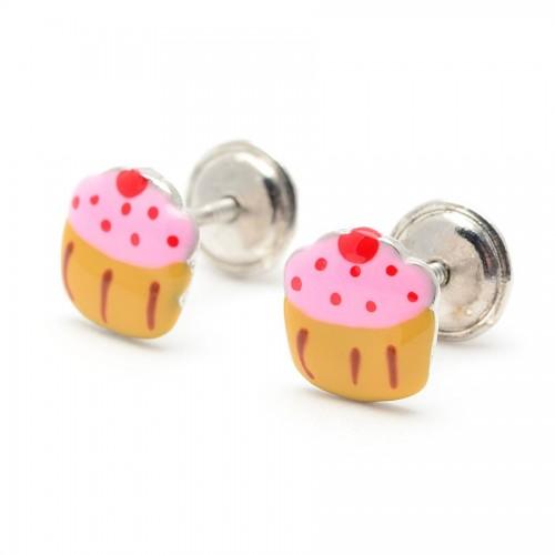 Pendientes Plata Muffin Rosa