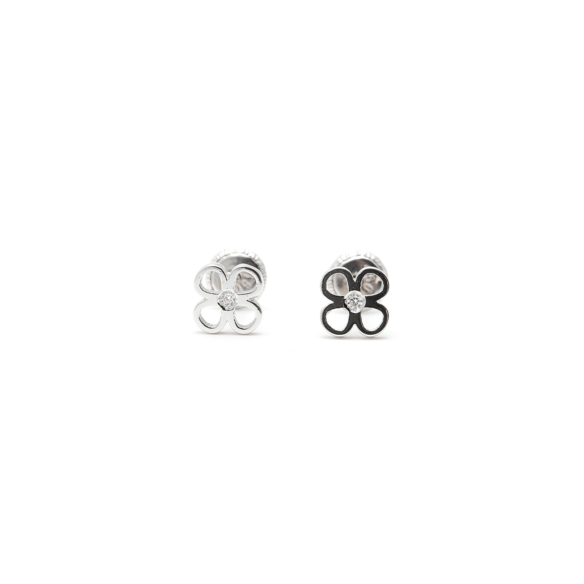 6107ce172bcf Pendientes Oro Blanco Bebé Niña Infantil Rosca Trébol Diamante