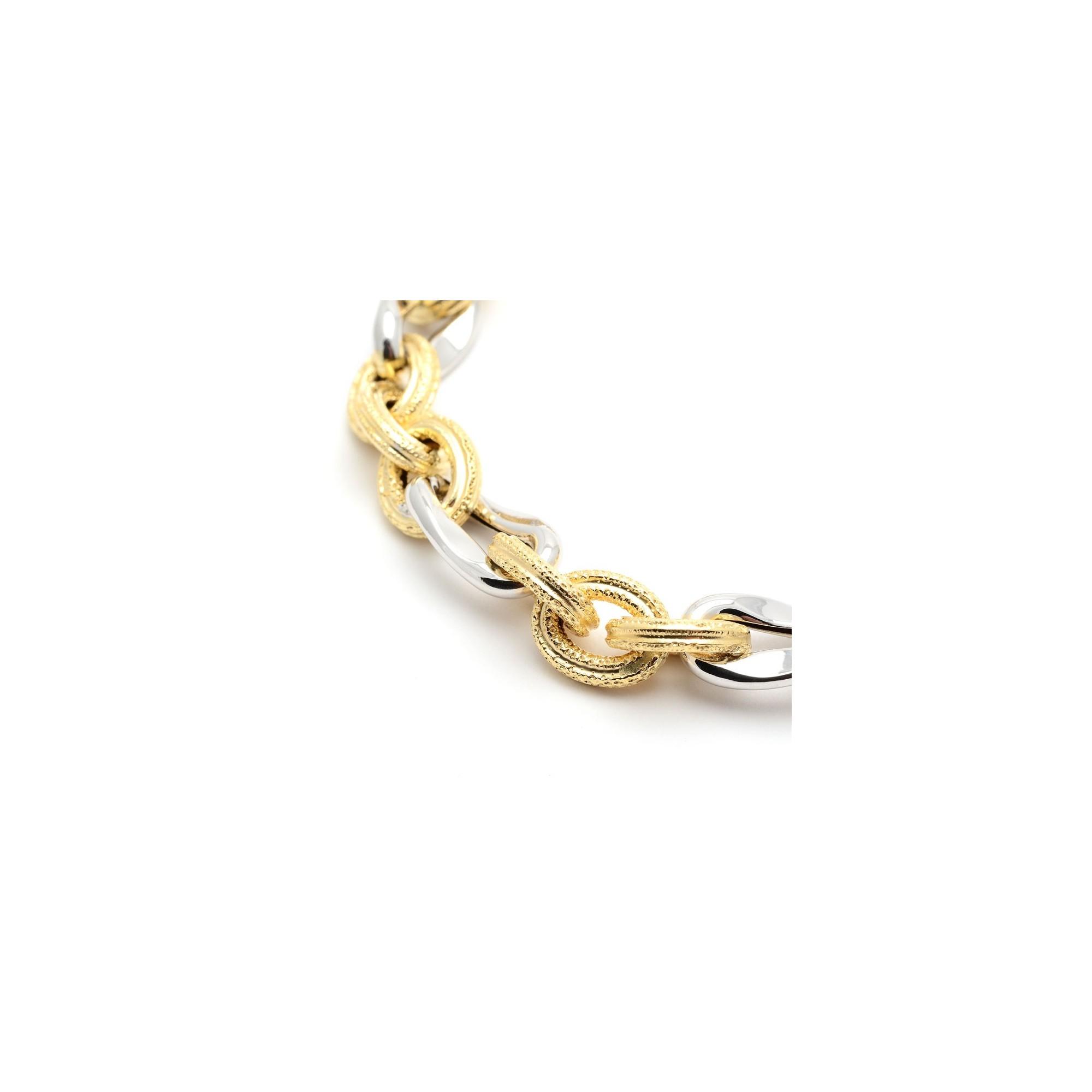 4c2afeaffb06 Pulsera Oro Mujer Eslabones Bicolor
