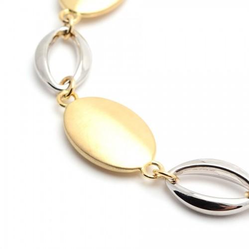 Pulsera Oro Ovalos Bicolor