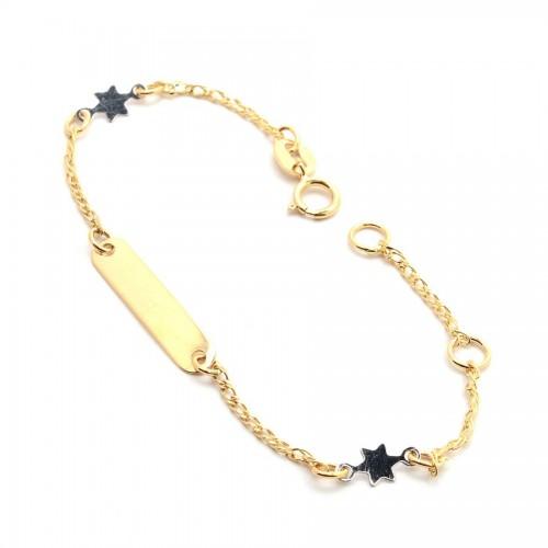 Pulsera Oro Placa Estrellas