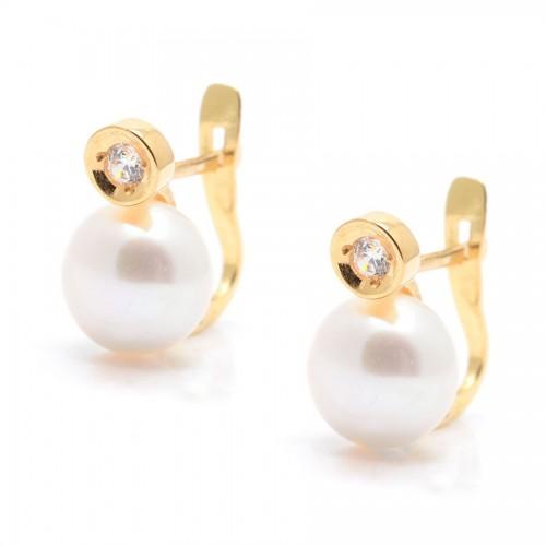 Pendientes Oro Perla Circonita