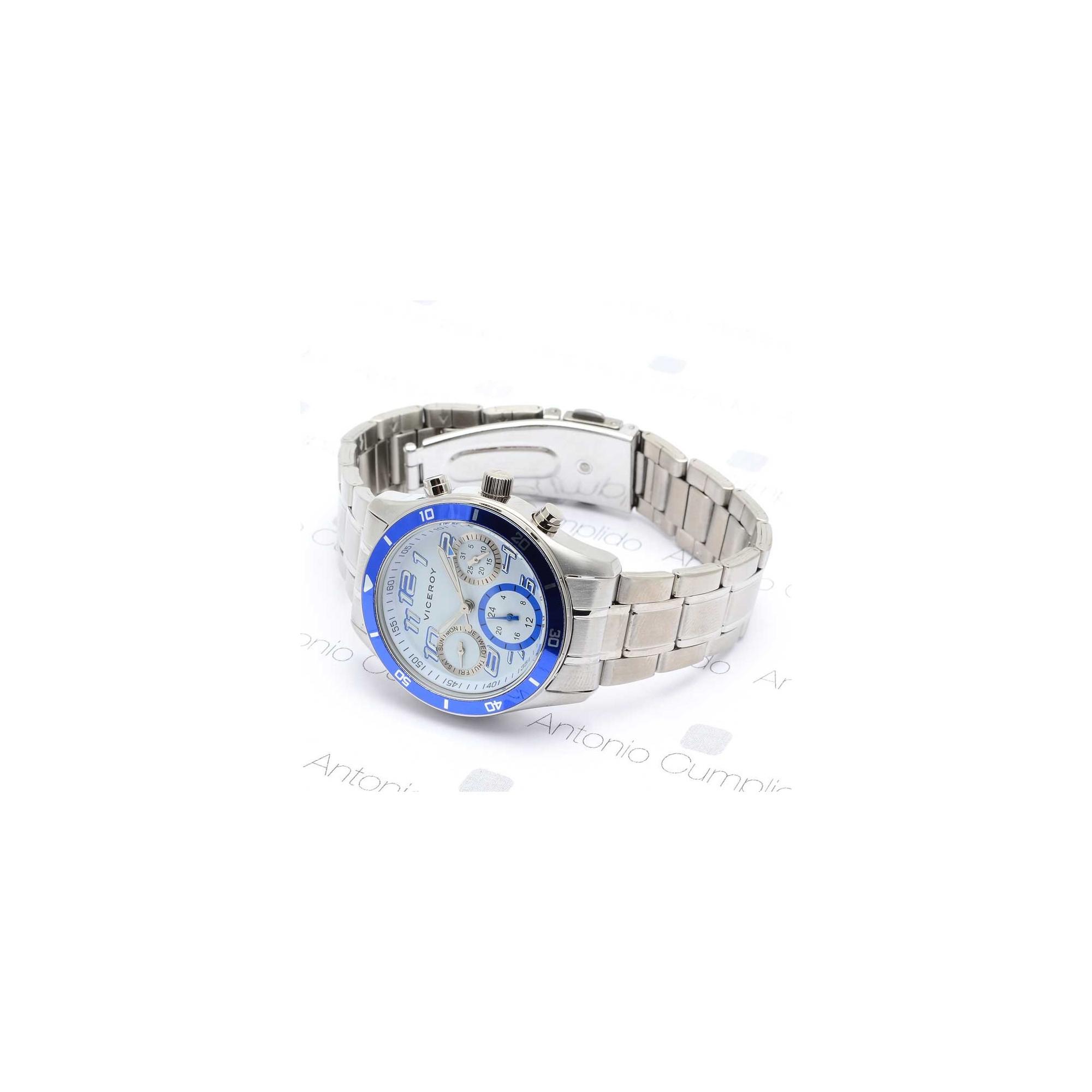 ac03b7b1aa6b Reloj Viceroy Cadete Niño Comunión Azul Brazalete Acero Multifunción ...