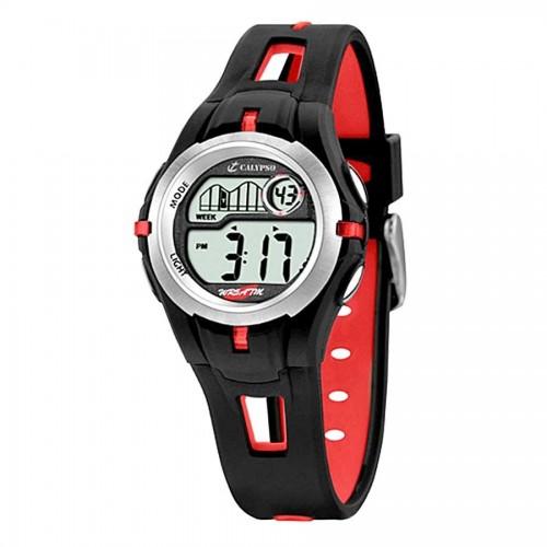 Reloj Calypso Digital Negro Rojo