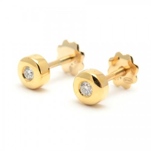Pendientes Diamantes Oro Círculo