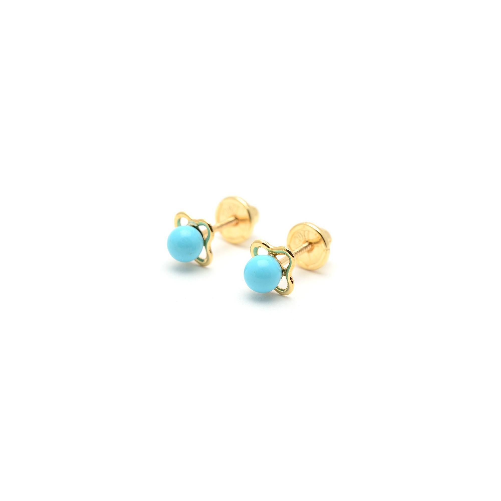 61a86dfbe2c4 Pendientes Oro Bebé Niña Infantil Flor Turquesa Azul